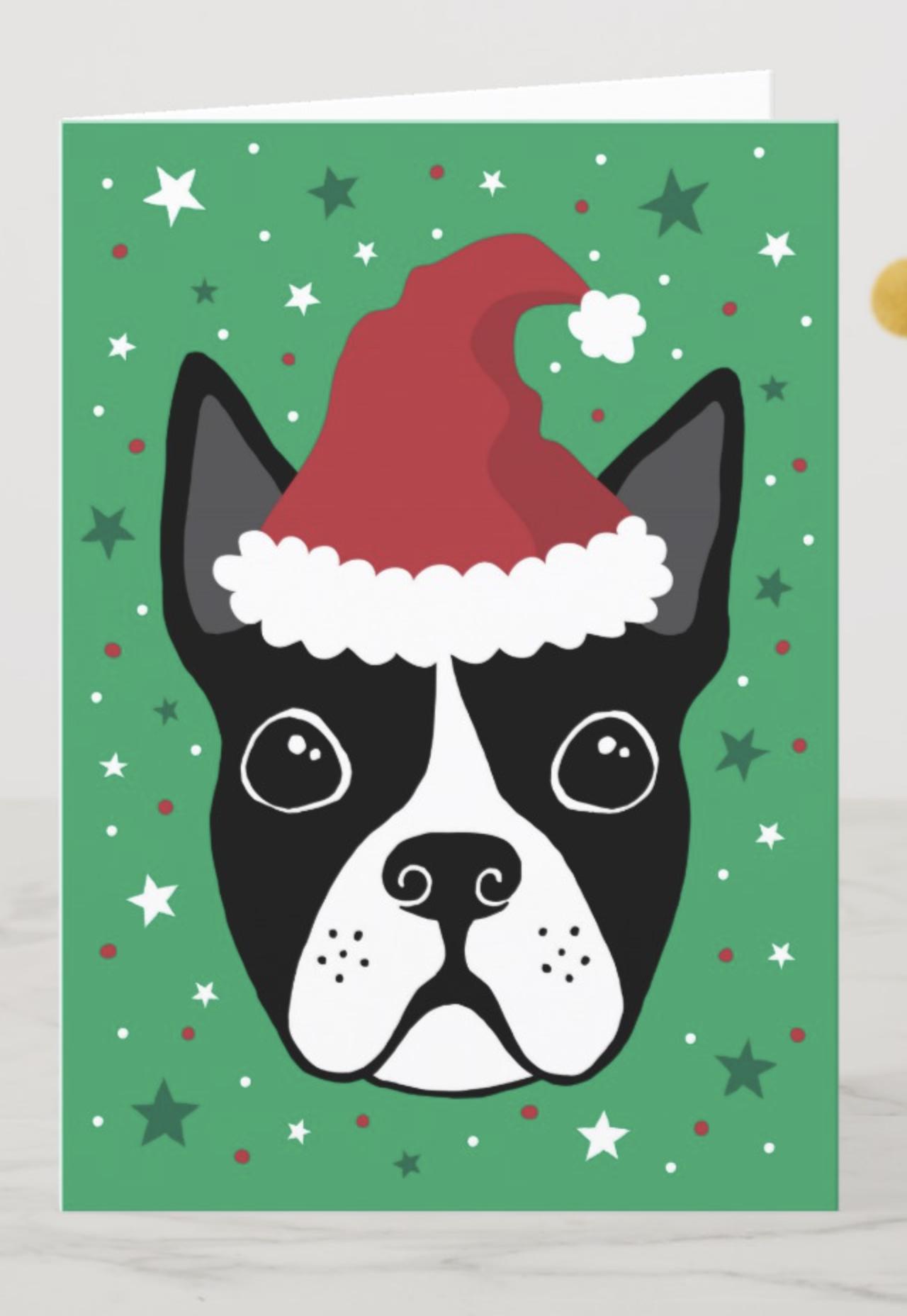 Boston Terrier Christmas Card Dog Wearing Santa Zazzle Com In 2020 Boston Terrier Christmas Card Dog Christmas Card Boston Terrier Christmas