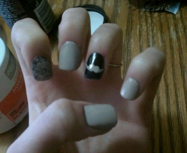 My creation. Saran wrap and mustache nails. -summer