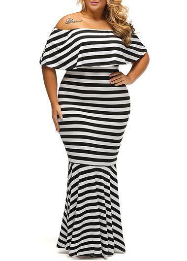 Plus Stripe Print Flouncing Maxi Mermaid Dress | Fashion ...
