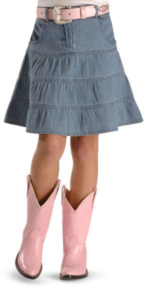 Ely girls' tiered denim skirt - 4-12 available at #Sheplers