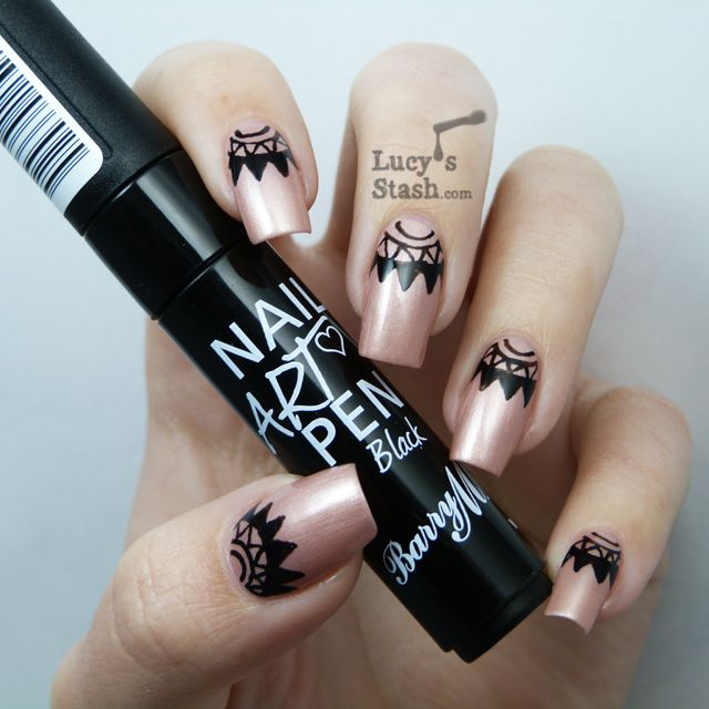 Nail art half moons with Barry M Nail Art Pen Black and Clinique ...