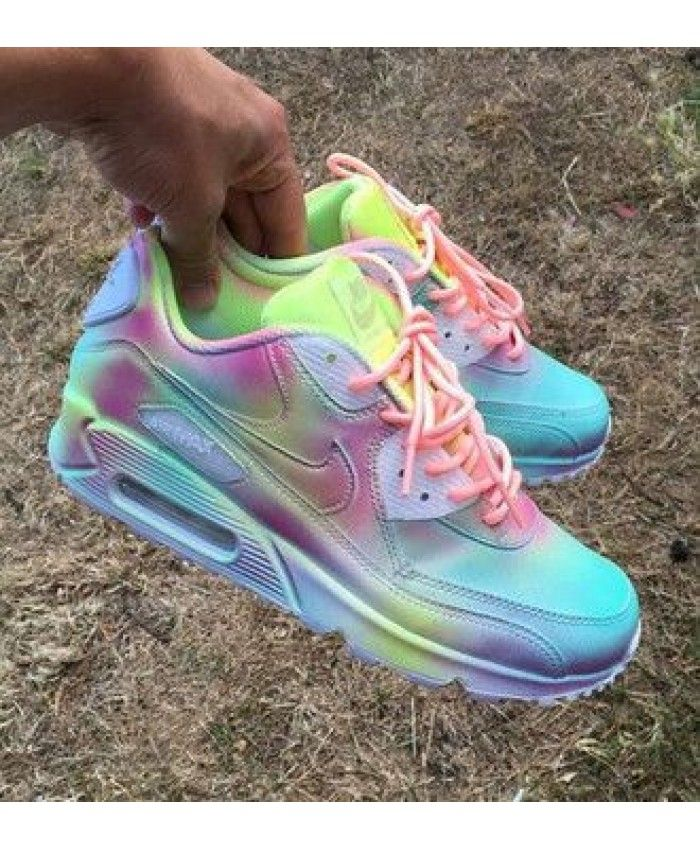 timeless design bf8c2 66343 Moins cher Femme Chaussures - Nike Air Max 90 Custom Rainbow Colorful