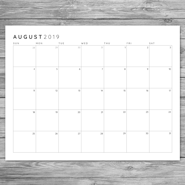 2017 2018 2019 Printable Minimalist Monthly Grid Calendar, Desk Calendar,  Wall Calendar, Instant