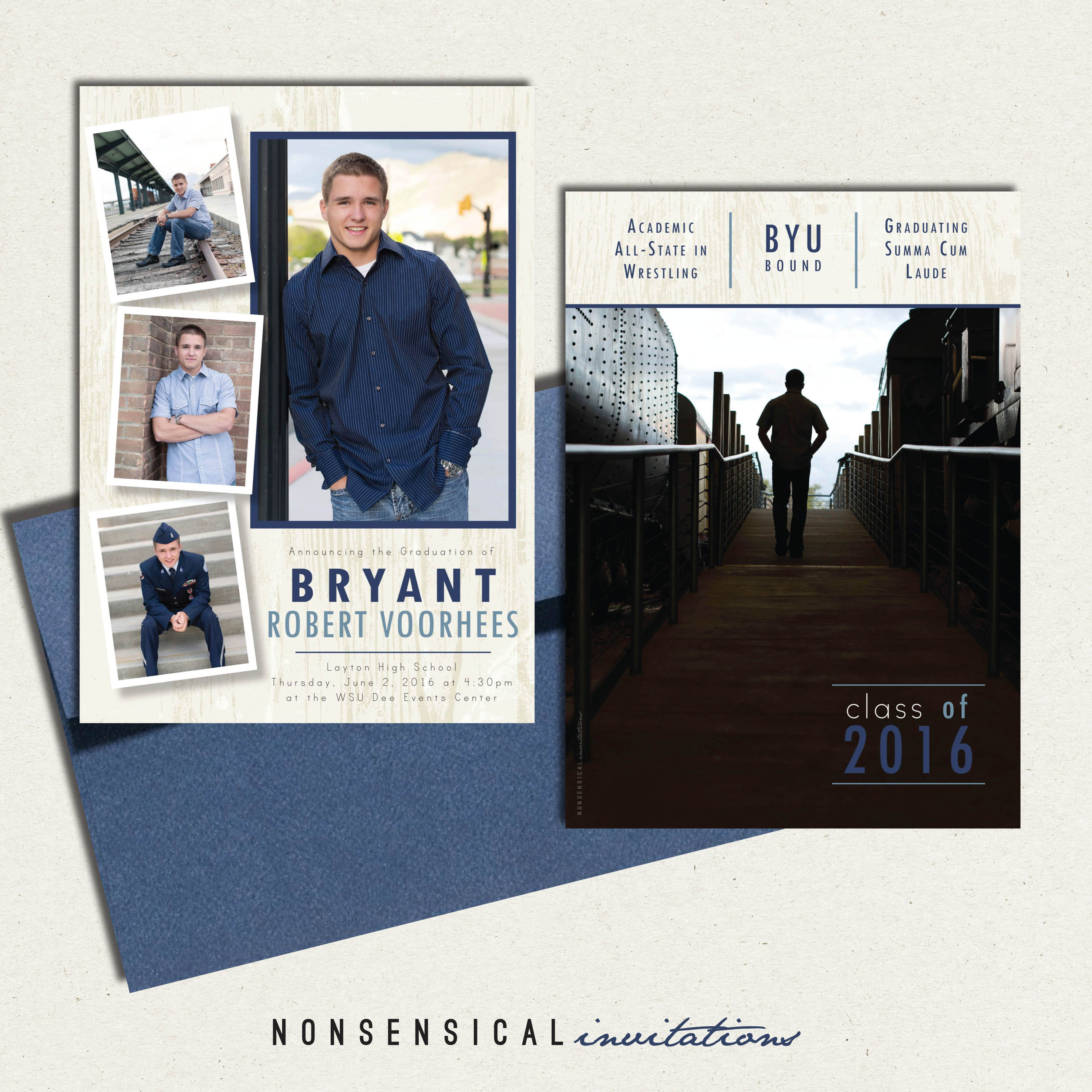 senior graduation announcement  high school grad  boy