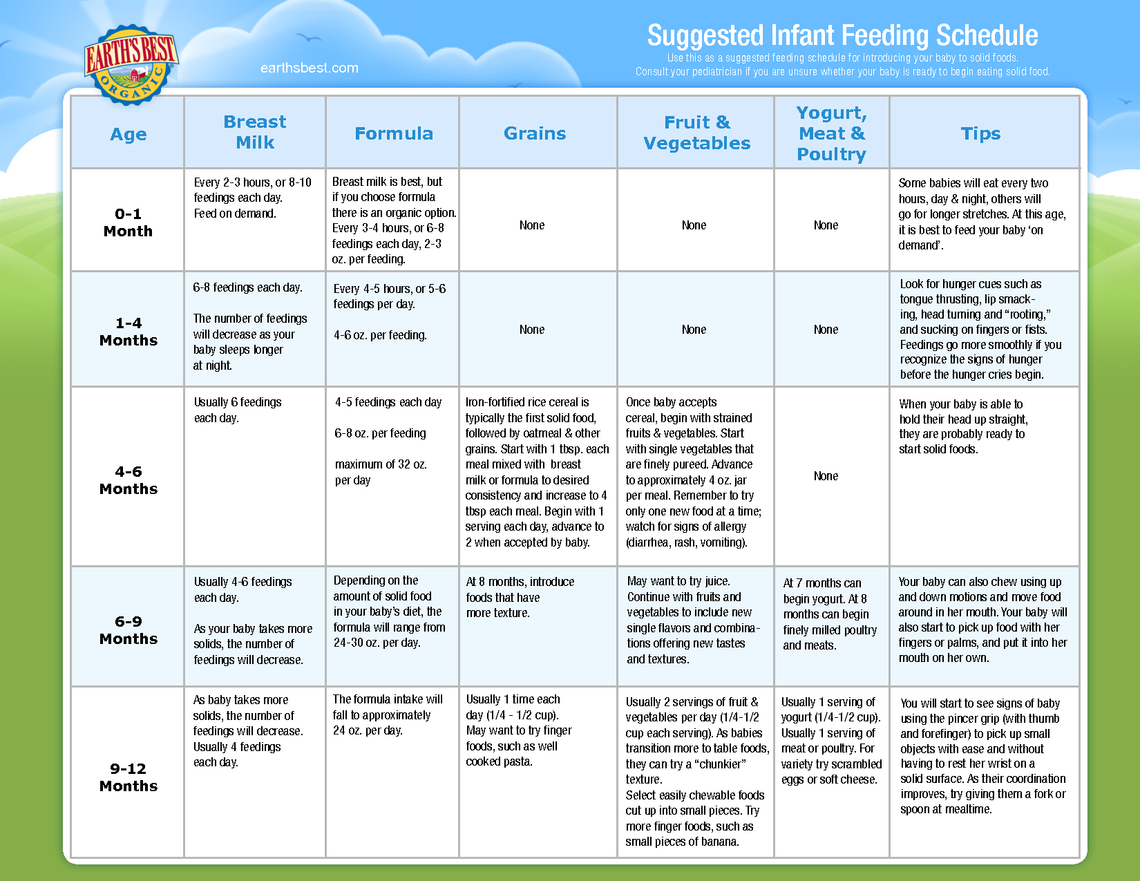 Infant Solid Food Feeding Schedule | baby info | Pinterest ...