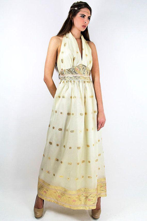 60s Vintage Maxi Dress Indian by TatiTatiVintage on Etsy, $228.00