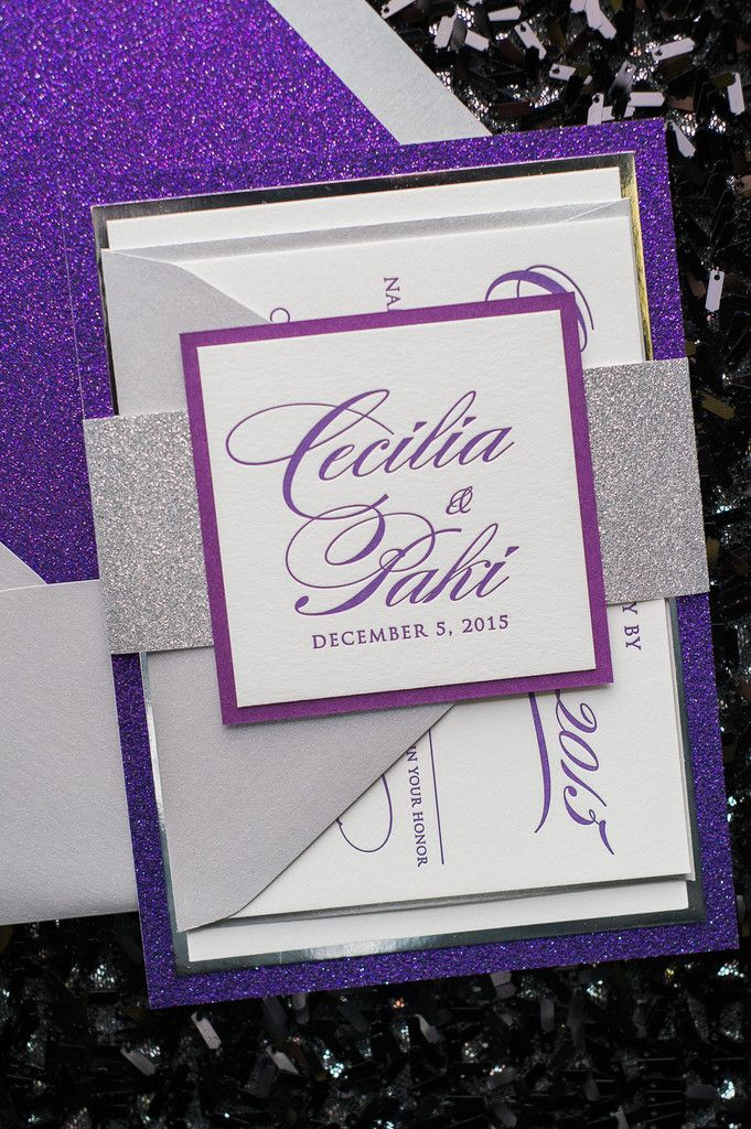 Fabulous Silver and Purple Glitter Modern Calligraphy Wedding Invitations. DIANE Fancy Glitter Collection by Just Invite Me