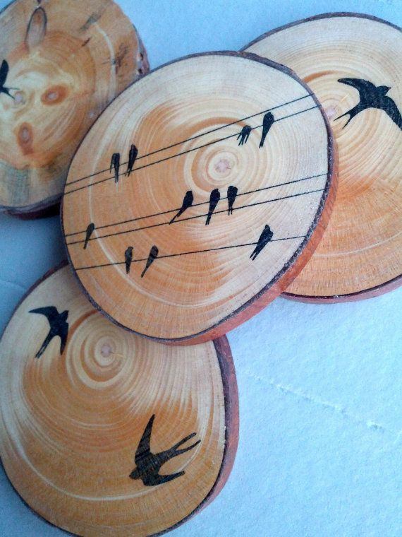 Graphic Wood Coasters X 4 by texturemix on Etsy, $30.00