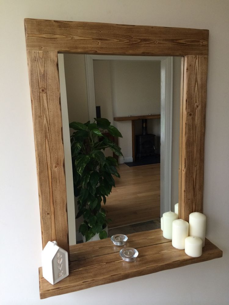 This Is A Beautiful Bespoke Handmade Chunky Rustic Mirror Made From Solid Pine Ebay Wooden Bathroom Mirror Rustic Style Mirror Decor