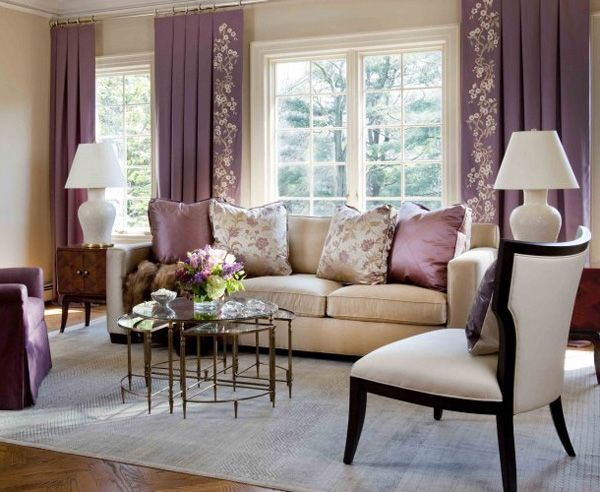 Purple Curtain Combine Beige Wall On Living Room