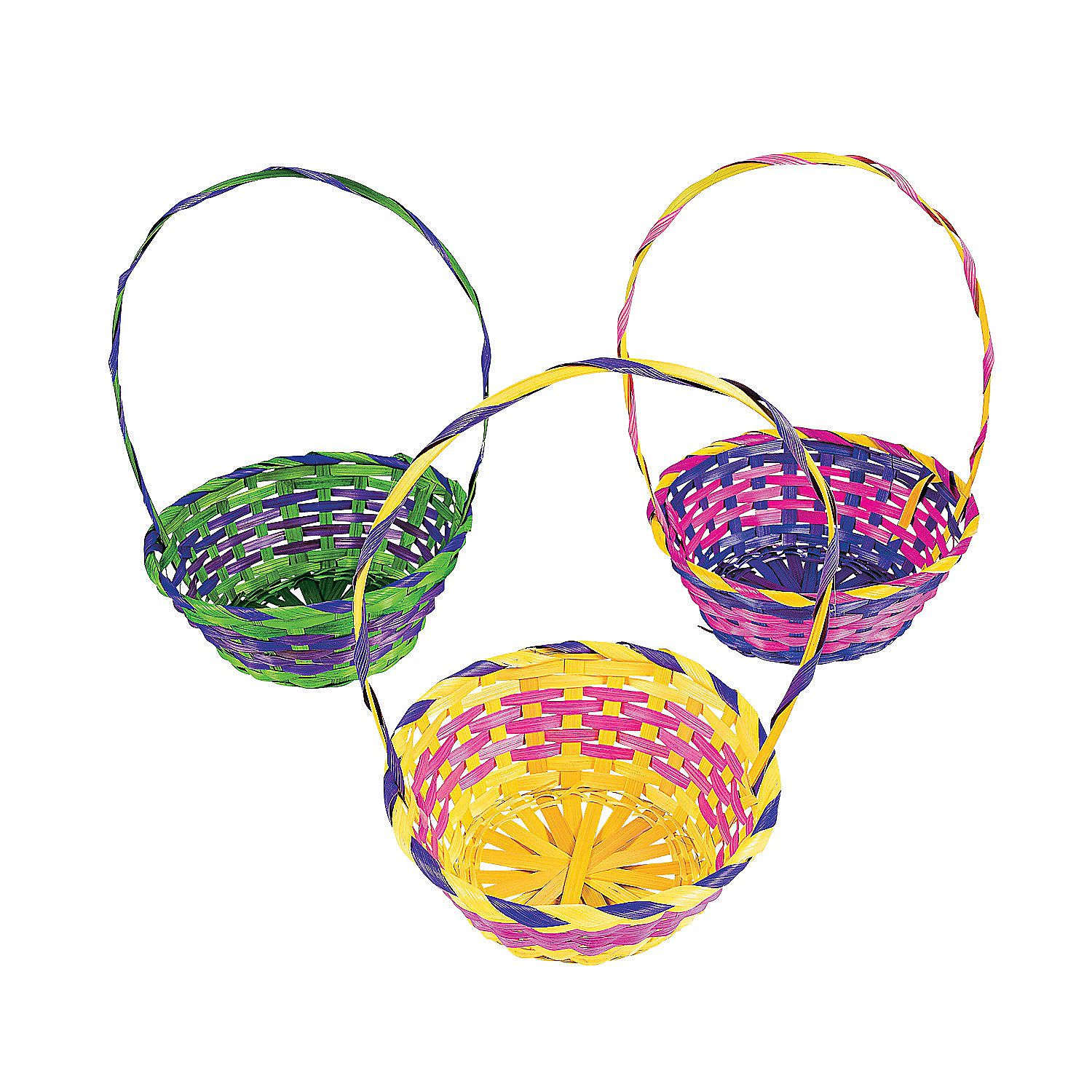 Multicolor round baskets orientaltrading easter goodie bags fill with easter basket stuffers toys and plastic easter eggs their long handles make them easy to carry during the easter egg hunt negle Choice Image