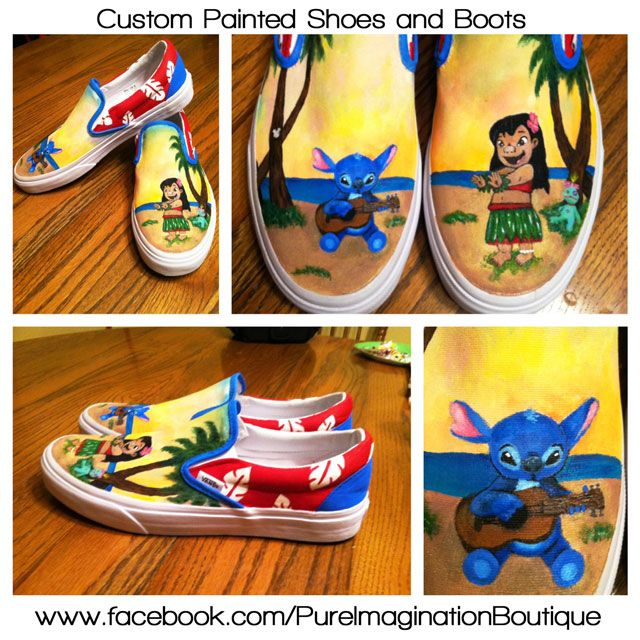 53062f79e5a2 Disney s Lilo and Stitch Painted Shoes - If interested in having a pair of  custom kicks