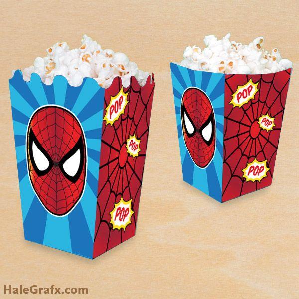772f3df0ce374 FREE Printable Spider-man Popcorn Box | Gift Ideas in 2019 ...