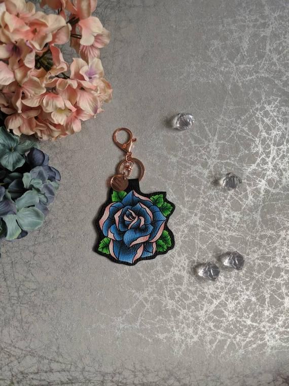Blue Rose Tattoo Bag Charm And Key Ring – Tattoo inspired by the Old School Tattoo Designs