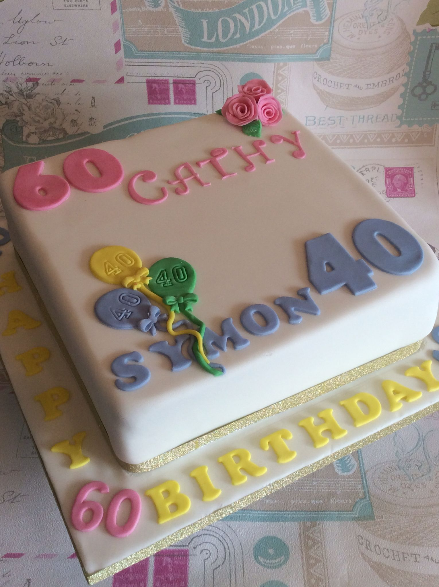 Strange Joint Birthday Cake 40Th 60Th X With Images 1St Birthday Funny Birthday Cards Online Aboleapandamsfinfo