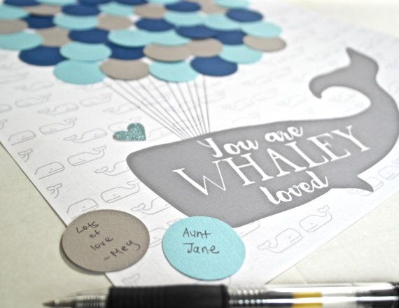 Nautical First Birthday Party Decor, Nautical Baby Shower Decorations,  Guestbook Alternative, Baby Shower Guest Sign In, Whale Baby Shower
