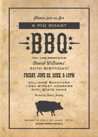 vintage rustic pig roast bbq invitations pig roast invitations
