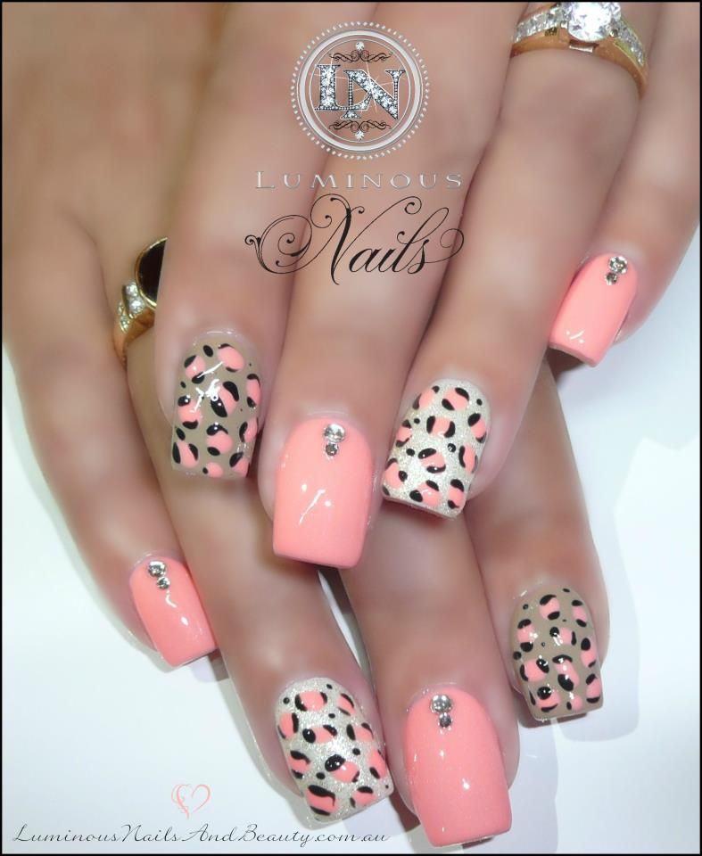 Peachy prowl nailed it pinterest leopard print peach with cheetah print nails prinsesfo Images