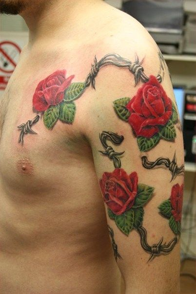 Barbed Wire Rose Tattoo: Roses With Barbwire Tattoo By MIrek Vel Stotker