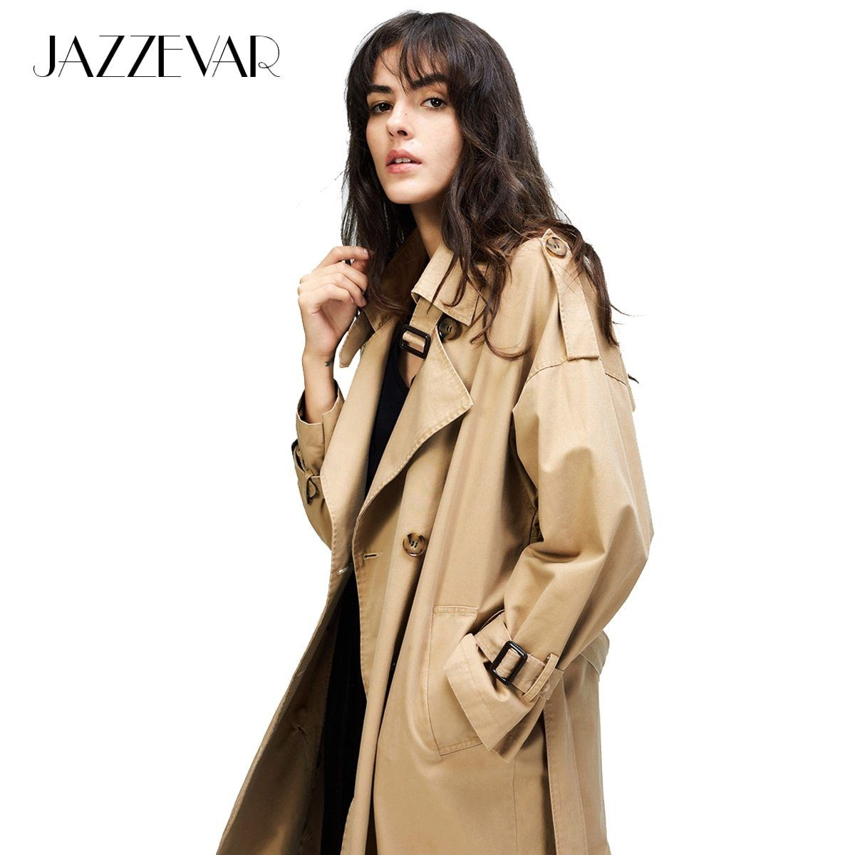 d20fa1343e95a JAZZEVAR 2018 Autumn New Women s Casual trench coat oversize Double  Breasted Vintage Washed Outwear Loose Clothing