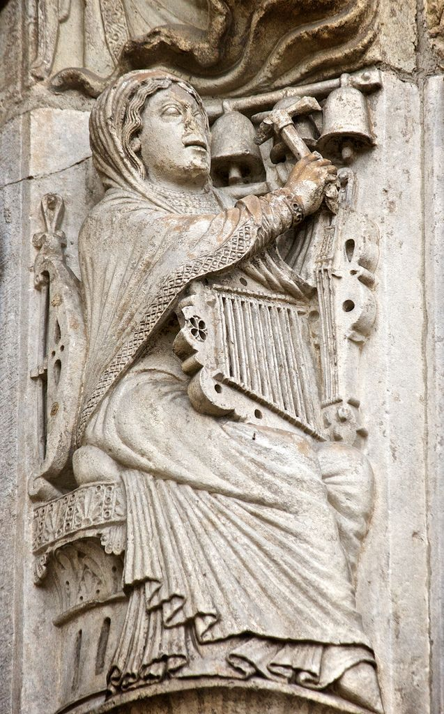Music archivolt, right door, west façade, Chartres Cathedral, Chartres, France. farm5.staticflick...