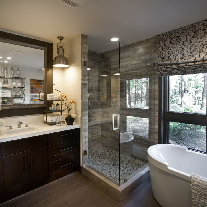 Master Bathroom With Freestanding Tub And WalkIn Shower Living - Master bathroom with freestanding tub