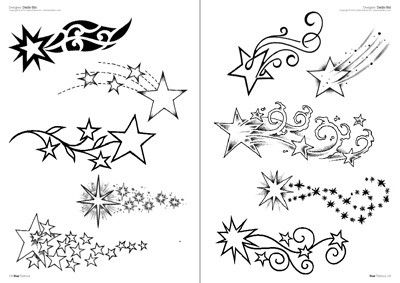 sketches of shooting stars and moons Stars tattoo