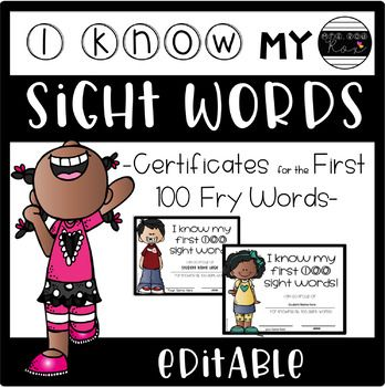 EDITABLE Sight Word Certificates for ANY LIST Fry sight words - how to make certificates in word