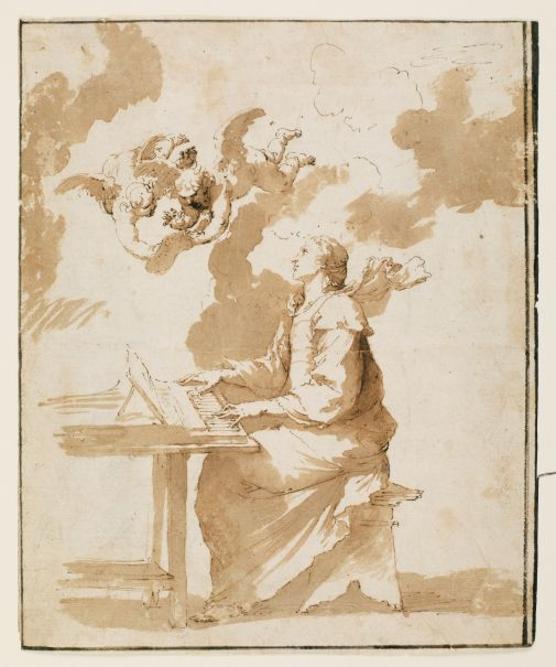 "José de Ribera, ""Saint Cecilia"", 1640-1643. Grey brown wash on paper, 257 x 210 mm. Madrid, Museo Nacional del Prado."
