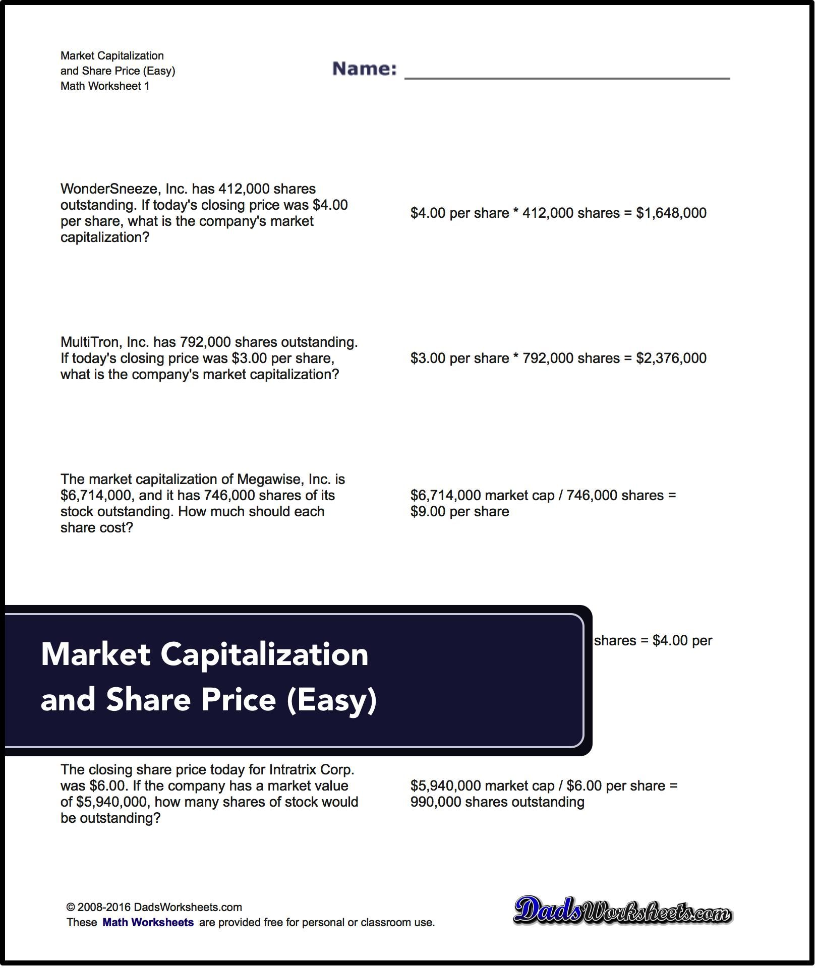 Problems To Calculate Market Capitalization Share Price