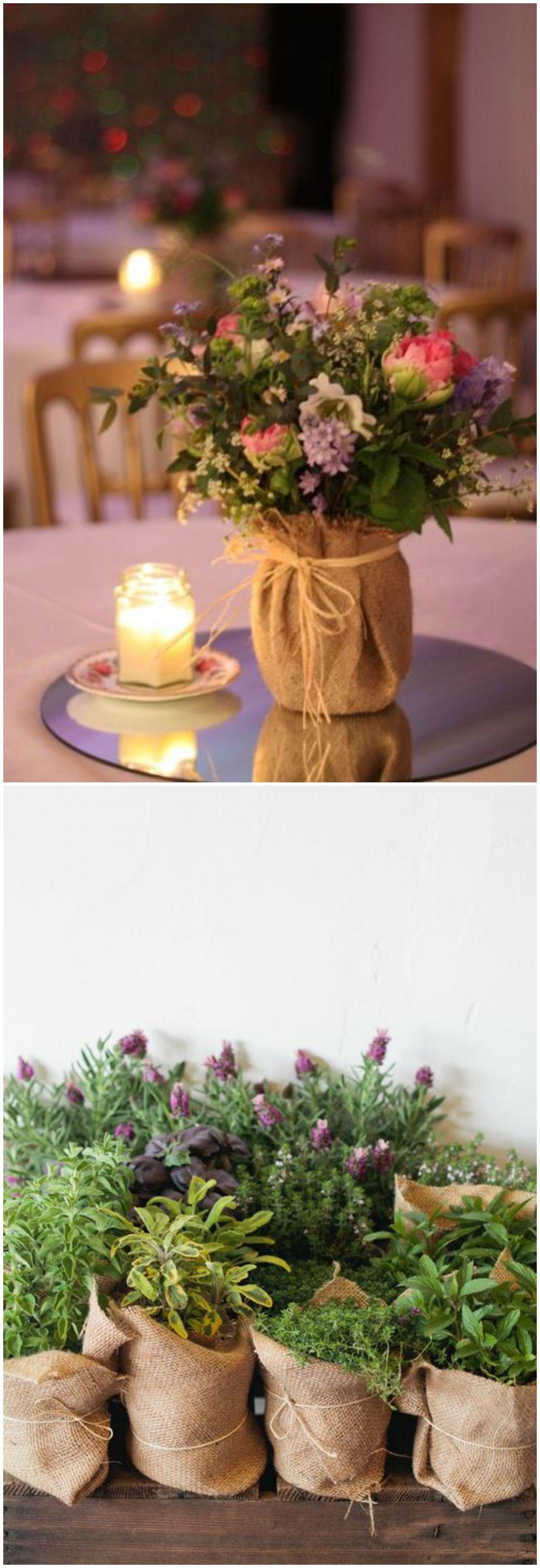 Diy con tela de saco proyectos diy mesas de boda boda - Centros para decorar mesas ...