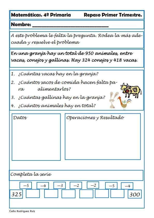 Matemáticas. Fichas para cuarto de primaria | Matemáticas ...