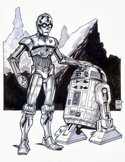 R2D2 & C3PO, star wars, robot, cliff, drawing, art, funny ...R2d2 And C3po Drawing
