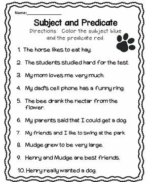 Henry And Mudge Journeys Education Worksheets Subject, Predicate Subject Predicate Worksheets Third Grade Subject And Predicate Worksheet More