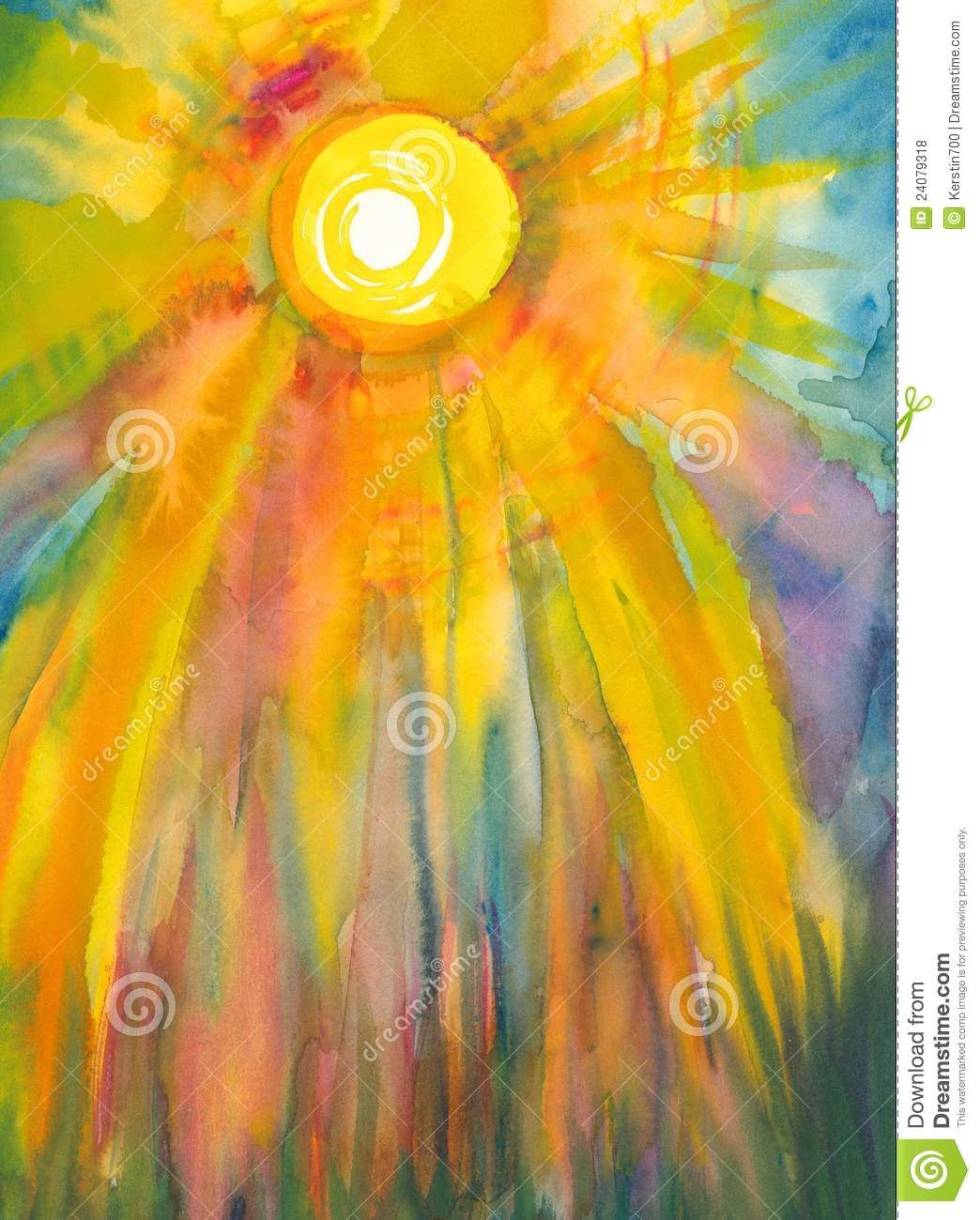 Sun Watercolor Painting Google Search Watercolor Paintings