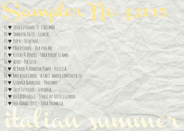 4more  Sampler No. 8/2015  {italian summer} Umberto Tozzi, Alice, Gianna Nannini, Paolo Conte & much more