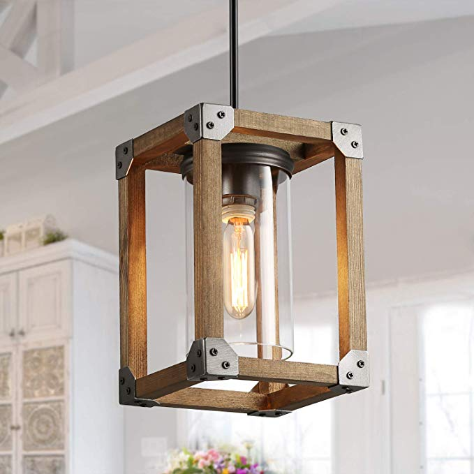 Lnc Farmhouse Pendant Lighting For Kitchen Island Rustic Wood Pendant Lights For Dining Roo In 2020 Wood Pendant Light Farmhouse Pendant Lighting Glass Ceiling Lights