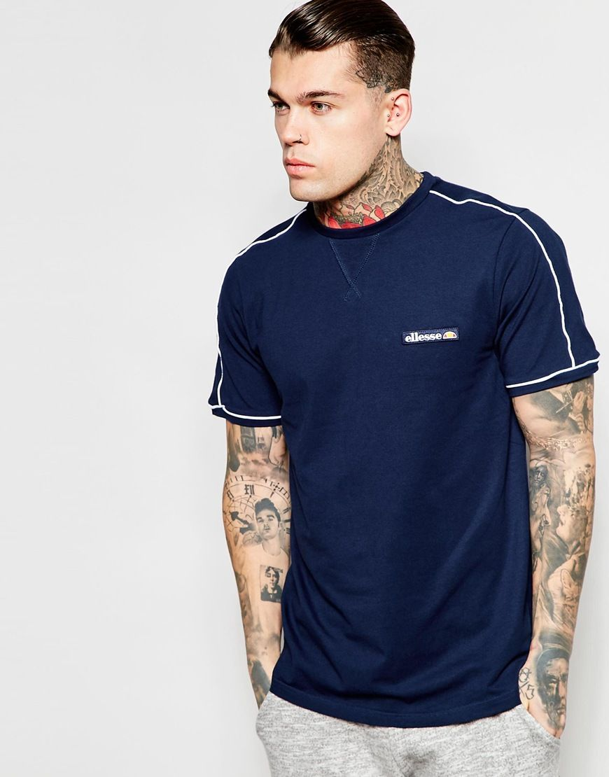 Image 1 of Ellesse T-Shirt With Shoulder Piping