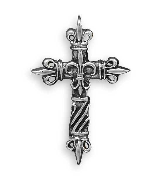 White Brass Fleur de Lis Cross Pendant