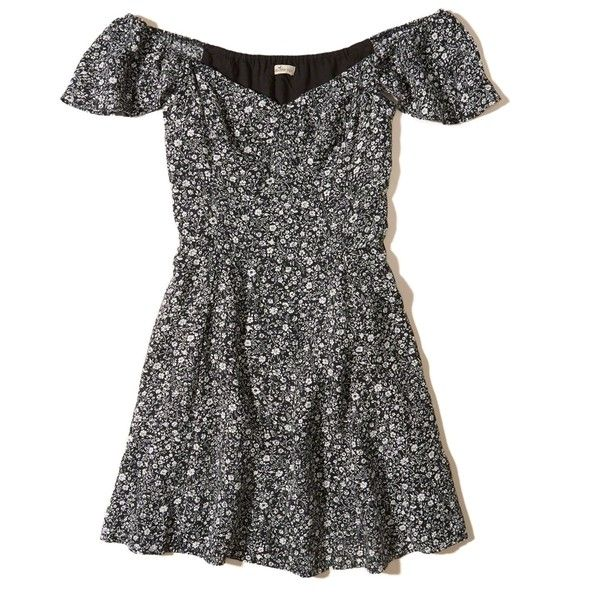 1720c5cc5e1d Hollister On Or Off The Shoulder Skater Dress ( 40) ❤ liked on Polyvore  featuring