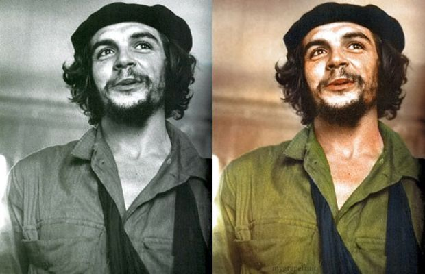 Iconic black and white photographs recolored
