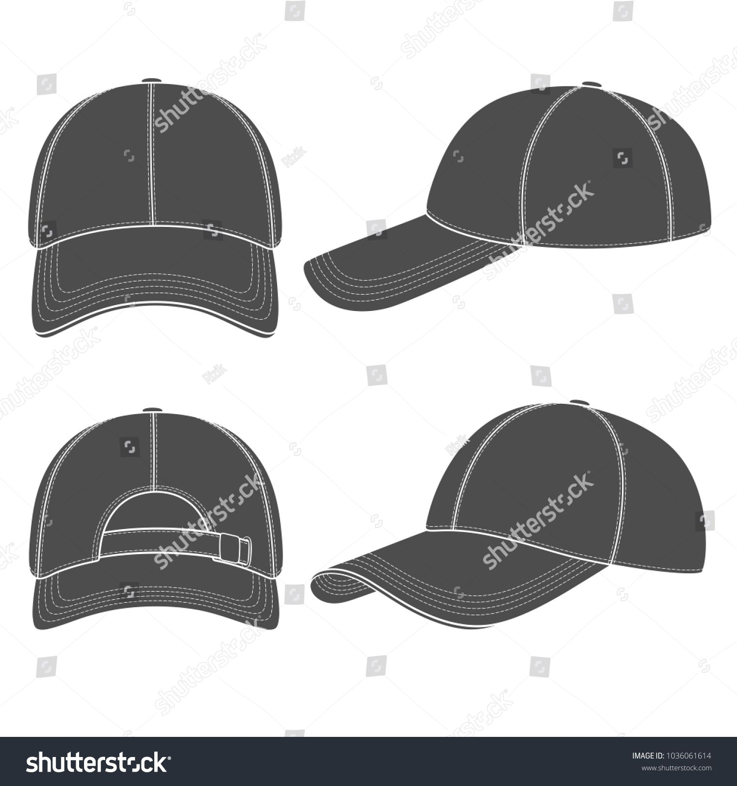 Set Of Black And White Illustrations With A Baseball Cap Isolated Vector Objects On White Backgro Black And White Illustration Illustration Graphic Design Art