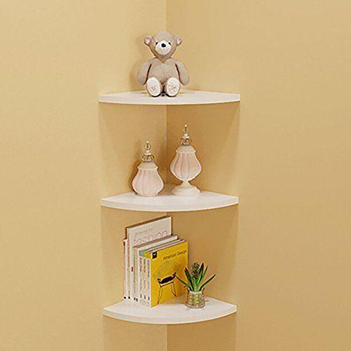 thee floating corner shelf decorative wall storage shelve