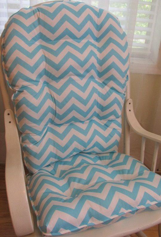 Handmade Glider Cushion Set In Aqua And White Chevron, Chair Pad, Porch,  Glider, Patio, Nursery Rocker, Rocking Chair