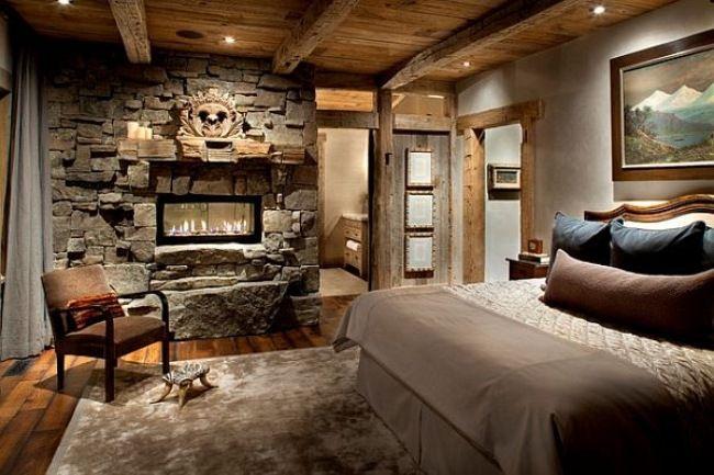 wohnideen schlafzimmer rustikal beige steinwand kamin | betten ...