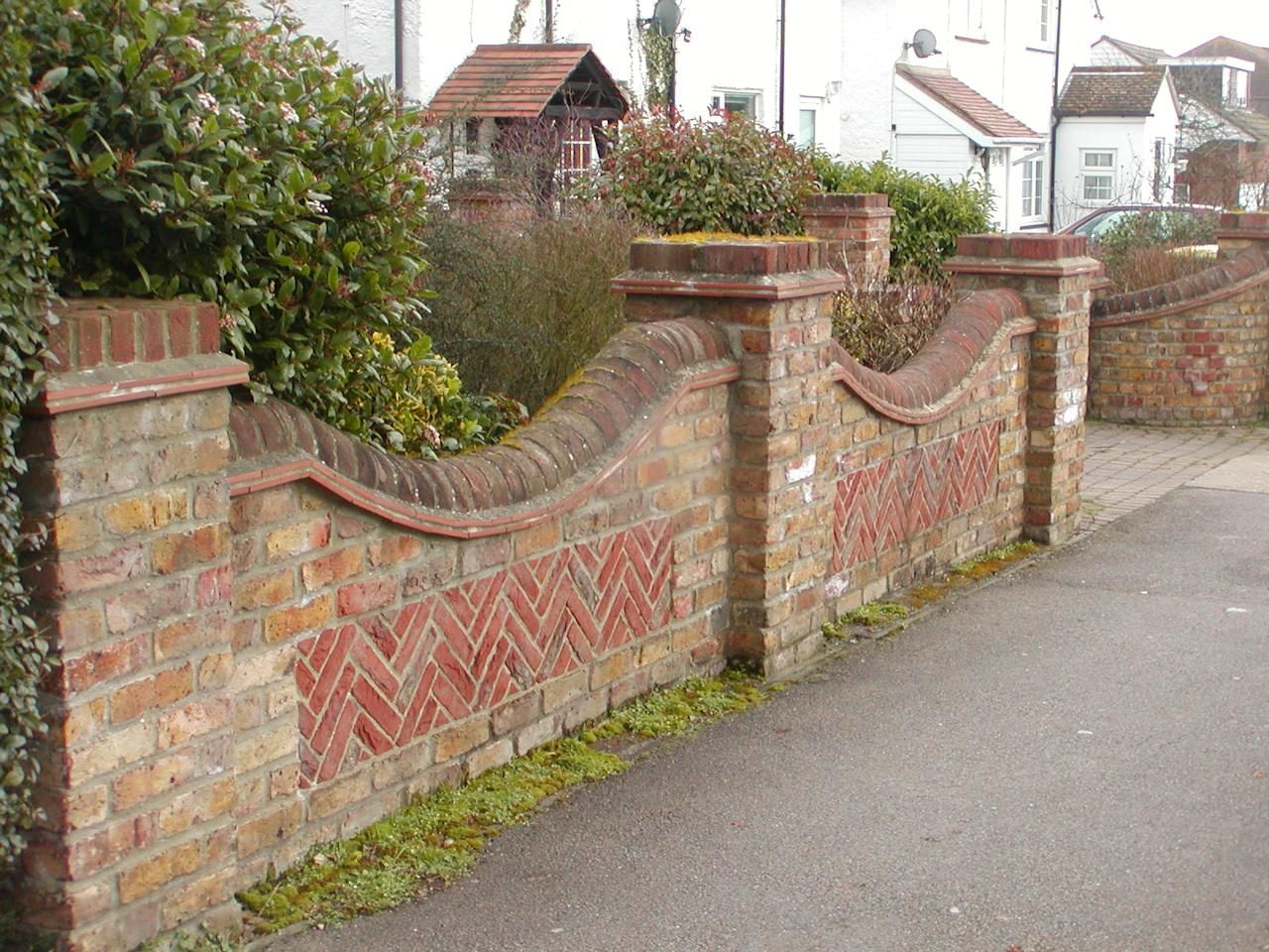 Brick boundary wall with grill google search boundary for Designs for brick garden walls