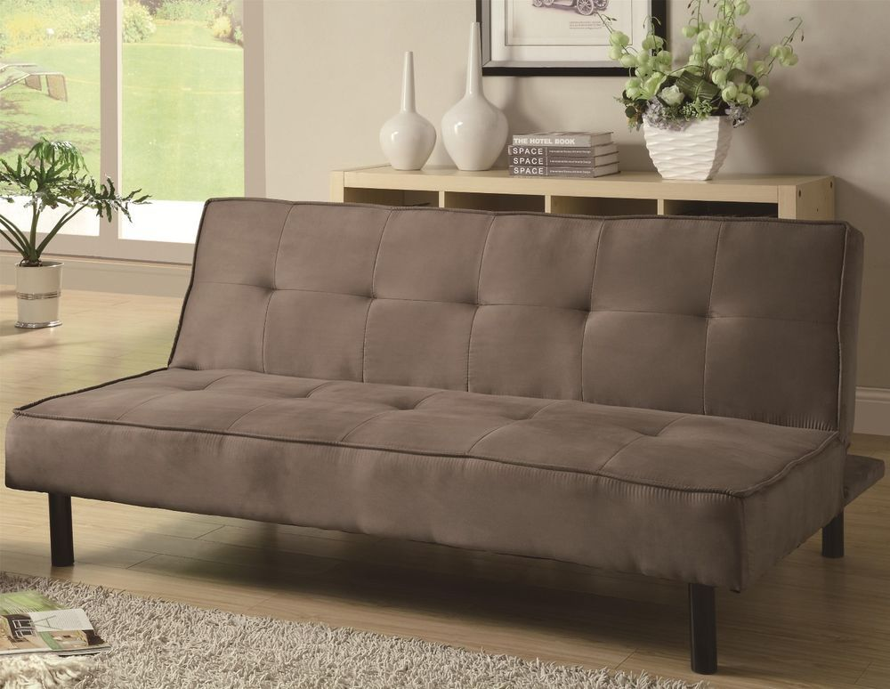 Comfy Tufted Microfiber Sofa Bed Futon Taupe Local Pick Up Available New