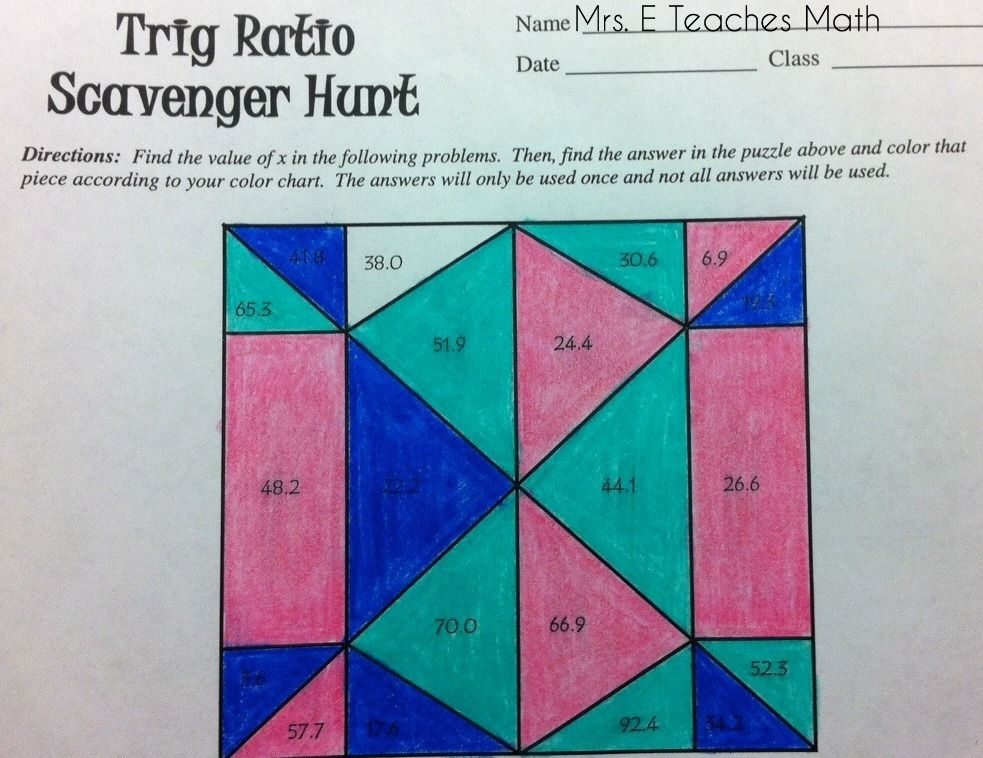 Printable Worksheets trig ratio worksheets : Trig Scavenger Hunt | Activities, Students and Math