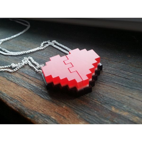 Pixel Heart Friendship Necklaces - Laser Cut Acrylic ($20) ❤ liked on Polyvore