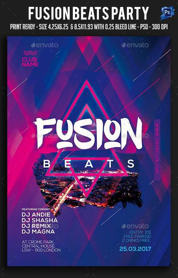 Fusion Beats Party Flyer Party flyer, Flyer template and Template